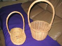 Two Wickerwork Baskets with Handles