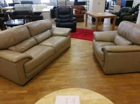Cream 3 and 1 seater leather sofas