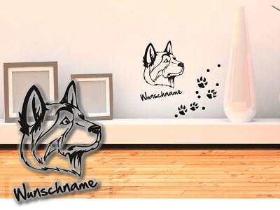 Wandtattoo Labrador Husky H266 Hundepfoten Wunschname Tatze