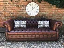 Beautiful whisky brown Button base Chesterfield sofa. Can deliver