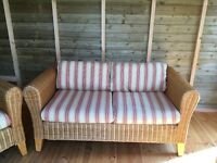 Cane wicker furniture. 1 two seater sofa and 2 chairs.
