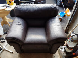 Chocolate brown leather sofa for sale