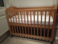 Cot bed and John Lewis mattress