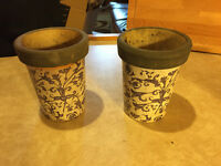 Plant Pot Ceramic Blue & White Long Tom size (2x) - REDUCED