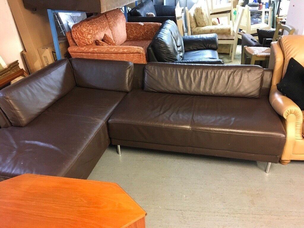 Habitat L Shape Leather Brown Sofa In Bristol Gumtree