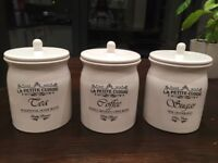 DEBENHAMS KITCHEN TEA COFFEE SUGAR CANISTERS POTS X3