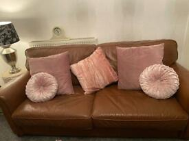 1 + 3 Seater Brown Sofas GENUINE soft leather