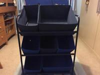 Kids storage unit with 7 individual storage boxes