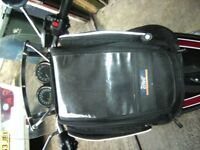 Motorcycle tank bag with magnetic side panels and all fittings