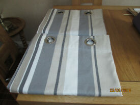 Curtains from John Lewis, fully lined, eyelet, Grey,cream and beige stripes