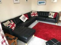 Corner Sofa Group with Chaise Long in black leather - Ikea LANDSKRONA