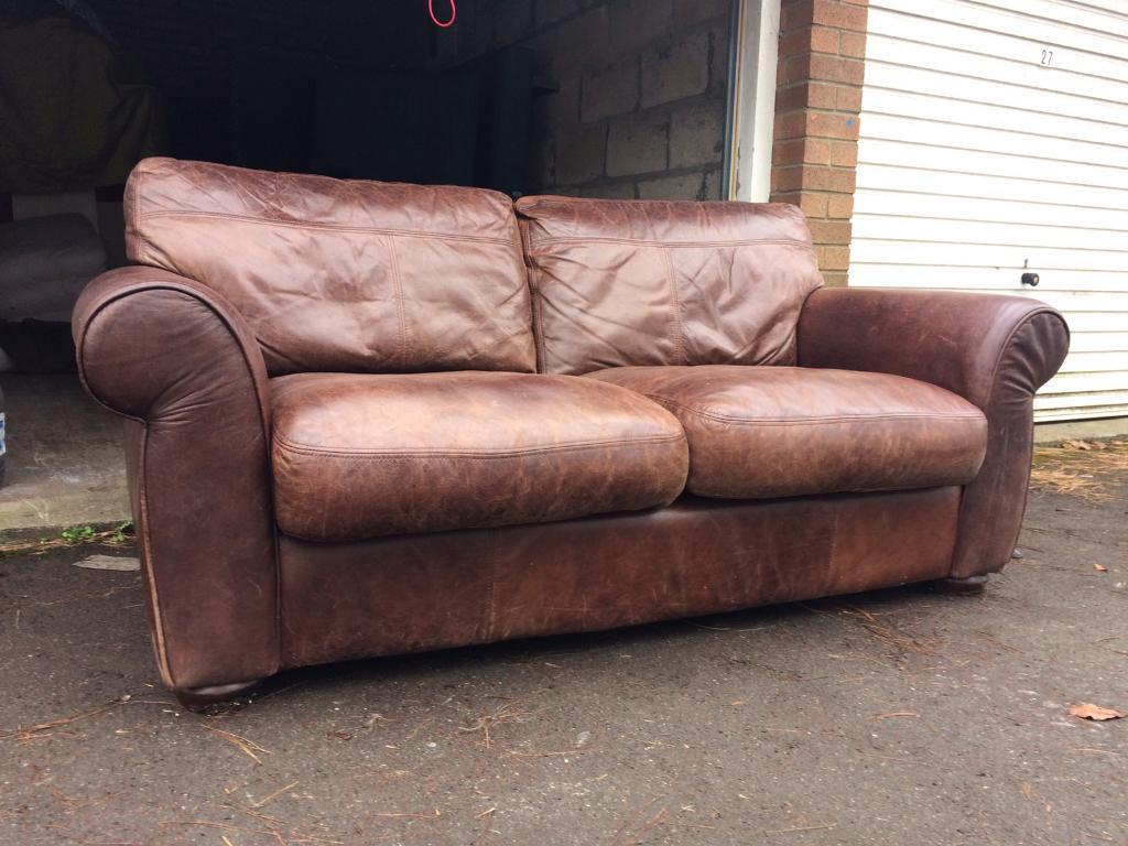 John Lewis Semi Aniline Distressed Leather Madison Two Seater Sofa