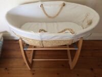 Moses basket and stand and bedding (mamas and papas)