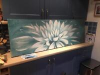 Extra large teal flower canvas. Thick paint
