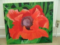 PAINTING original oil painting RED POPPY painted in bold reds and greens on thick canvas, by D Brown