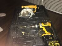 Dewlat drill and cordless saw