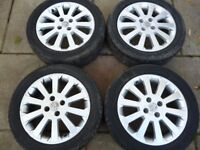 """VAUXHALL 16"""" 4 STUD ALLOY WHEELS WITH DECENT TYRES"""