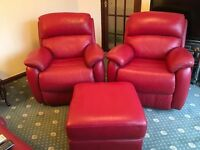 RED LEATHER RECLINING ARMCHAIRS & MATCHING POUFFE