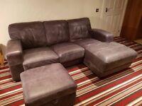 DFS Caesar corner sofa and storage Pouffe