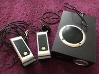 Logitech computer stereo speakers in black