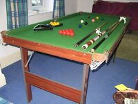 Pool & snooker table 6ft, with folding legs, inc balls & cues