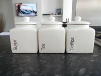 Set of white ceramic Tea, Coffee & Suger Jars