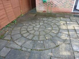 Over 80sq meters of garden patio slabs with large circle patio slabs as well