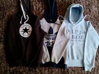 3 x Boy's hoodies. 1 c Converse, 1 x Adidas, 1 x Help for Heroes. Age 13/14 yrs.