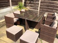 11pc Rattan Garden Furniture (10chairs and table)