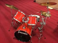 Vintage Premier APK 5 piece drum kit. Includes all original hardware, stands, cymbals and pedals.
