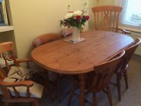 Waxed pine table and 6 chairs
