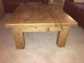 Attractive large rustic solid wood coffee table.