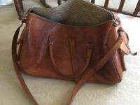 Large brown leather zip up bag