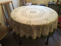 Circular Dining Room Table for Sale, dark wood, with centre extension leaf, 120cm dia approx £25