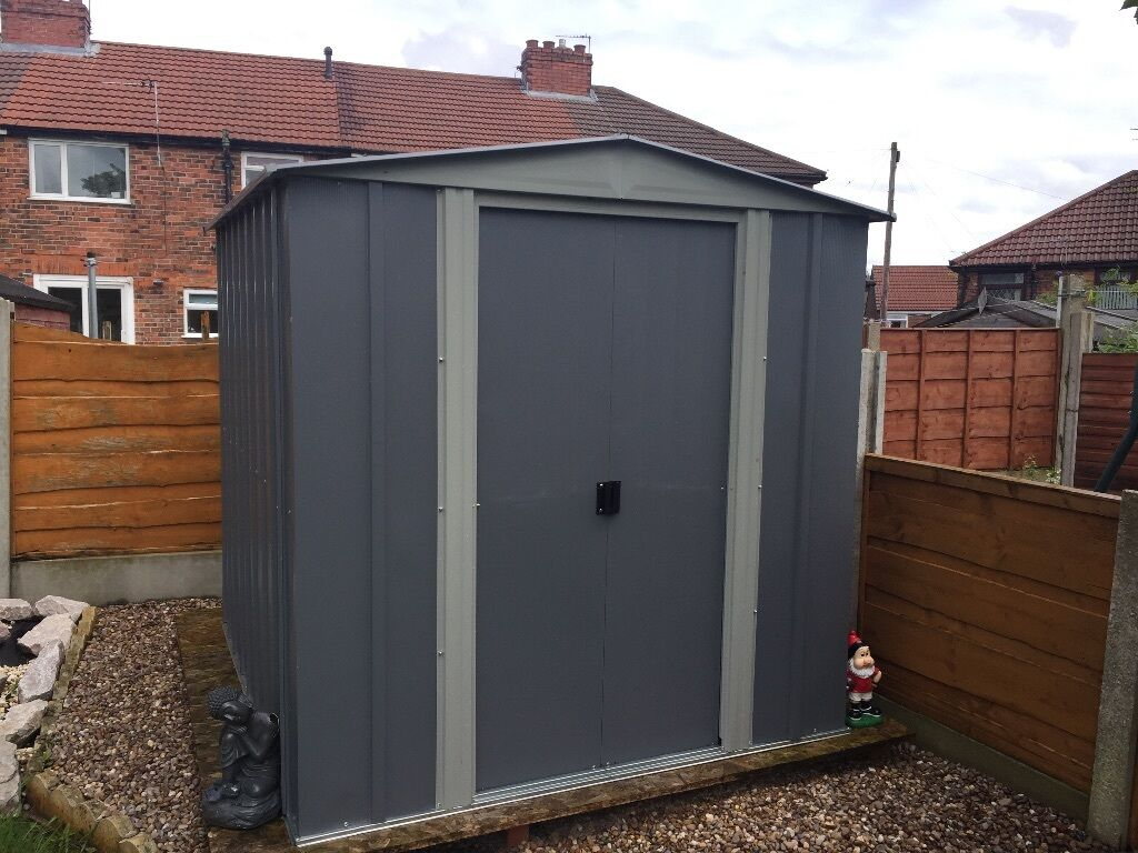 arrow apex metal garden shed 6x7 includes base