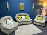 Cream and green fabric suite 2 seater sofa and 2 chairs
