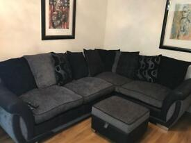 Dfs sofa, swivel chair + two footstools