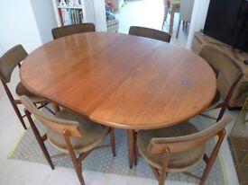 G Plan Koford-Larsen Teak Dining Table and Six Chairs