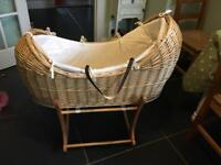 Mothercare Wicker Moses Basket and Wooden Rocking Stand