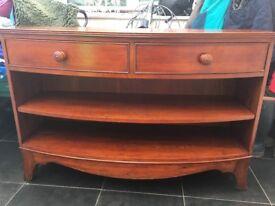 Console/sidetable for living room/hall, 2 drawer, 2 shelf, dark wood