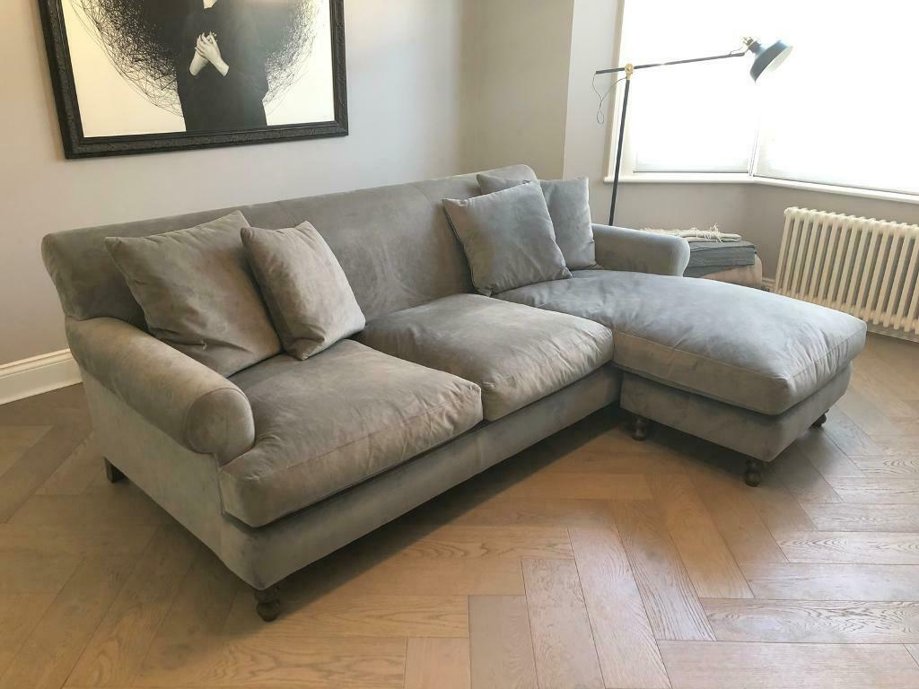 Prime Immaculate Arlo And Jacob Grey Velvet Sofa With Right Hand Chaise In Clapham London Gumtree Andrewgaddart Wooden Chair Designs For Living Room Andrewgaddartcom