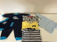 3-6 months baby clothes including baby wetsuit and happy nappy