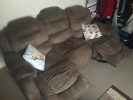 Sofa with double recliner seats