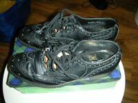 Pair black leather Kilt Ghillie shoes - size 7