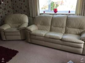 Cream real leather 3 seater sofa and armchair