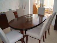 extendable table seats 8 used, side board oak mahogany stained; Chairs ( Multiyork) 3 years old