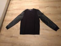 Black Topman Jumper with leather sleeves