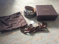 Gucci belt with box, dust bag and tag and ribbon