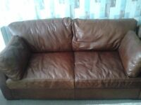 Two nice brown leather 2 seater sofas for sale