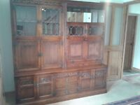 OLD CHARM FURNITURE WALL UNIT DISPLAY WITH BUREAU TUDOR BROWN LEADED GLASS AND LIGHTS EXCELLENT